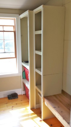 first entryway shelving layout wasn't quite right