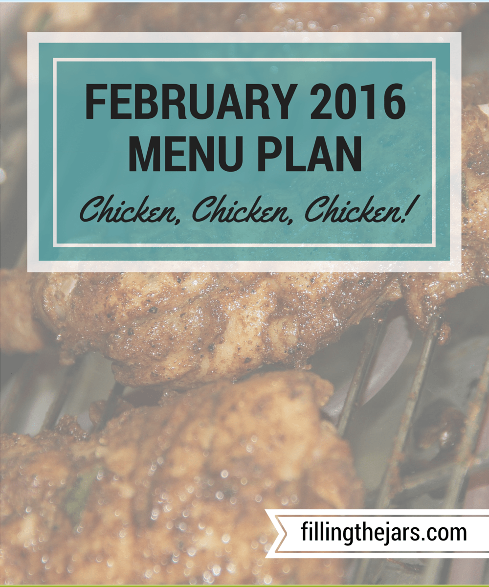 February 2016 Grocery Goals and Menu - www.fillingthejars.com | I got an AMAZING deal on boneless skinless chicken thighs -- 75¢/lb *faint* -- so I brought home 160 pounds and have made a chicken-heavy menu for the month.