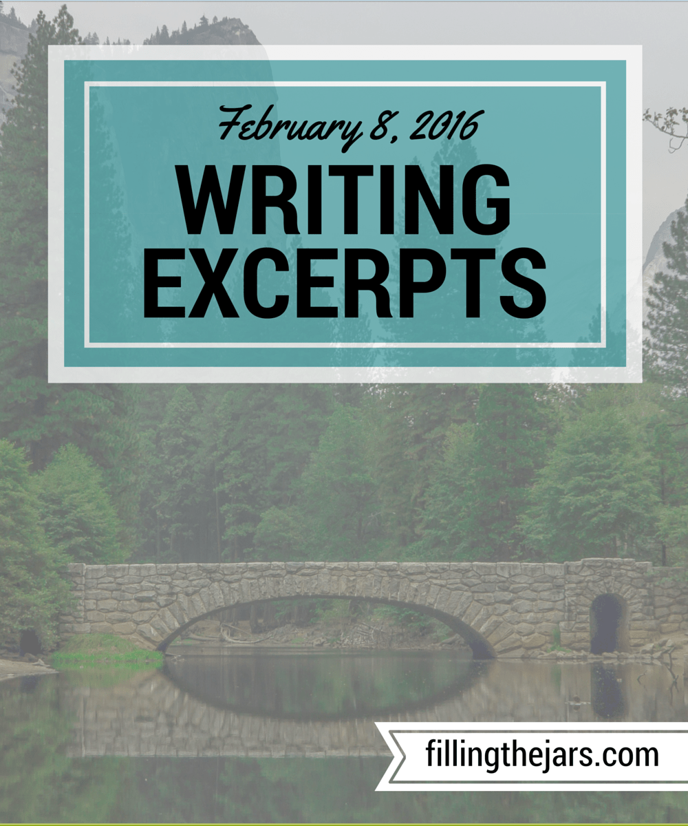 Writing Excerpts - February 8, 2016 | www.fillingthejars.com | Here is the second weekly collection of excerpts from my morning 500-word daily writings.