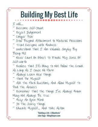 Printable Building My Best Life list with salmon border and handwriting-style font | PDF | www.fillingthejars.com