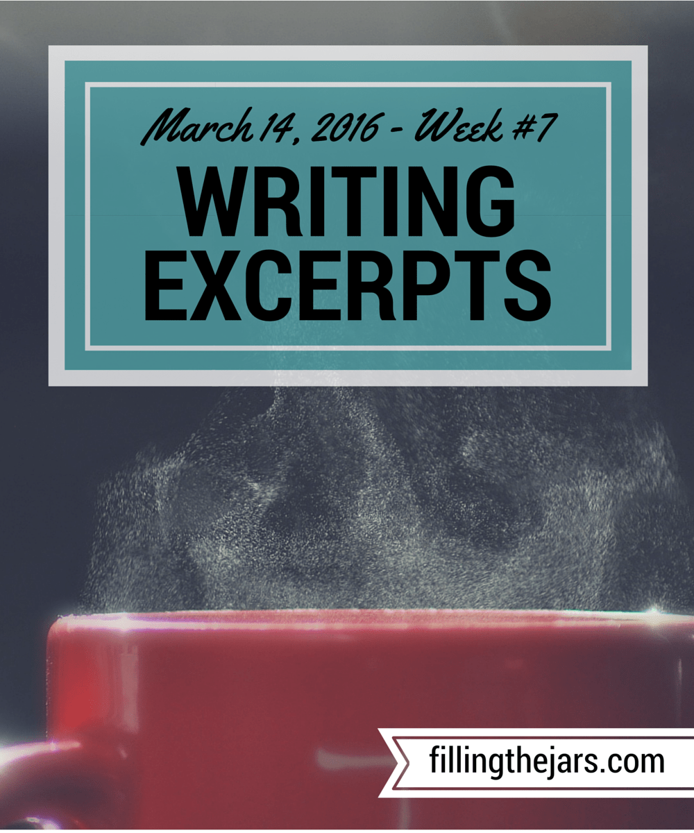 Writing Excerpts - March 14, 2016| www.fillingthejars.com | Wow, it's already Week #7 of posting my writing excerpts. This week has a few blank days because I took a computer break for a while.