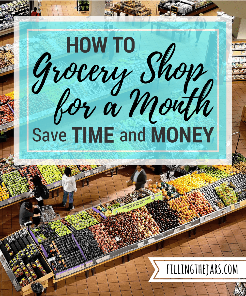 How to Grocery Shop for a Month | www.fillingthejars.com | Doing only one main grocery shop each month can save you hours of time and a nice chunk of money. Click through to read my step-by-step method.
