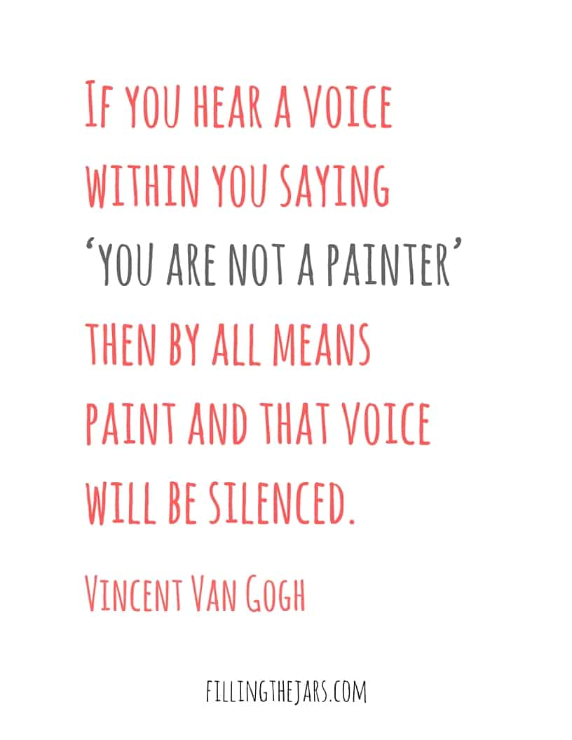 Vincent Van Gogh inspirational quote for the month of July on white background.