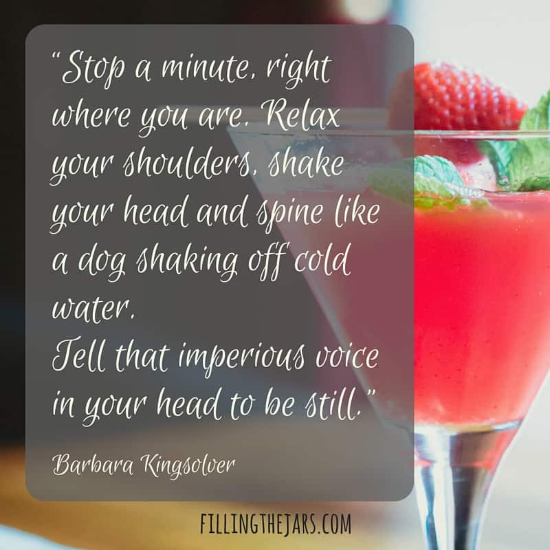 blurry kitchen background and pink drink in martini glass with gray overlay and white text barbara kingsolver quote tell that imperious voice in your head to be still