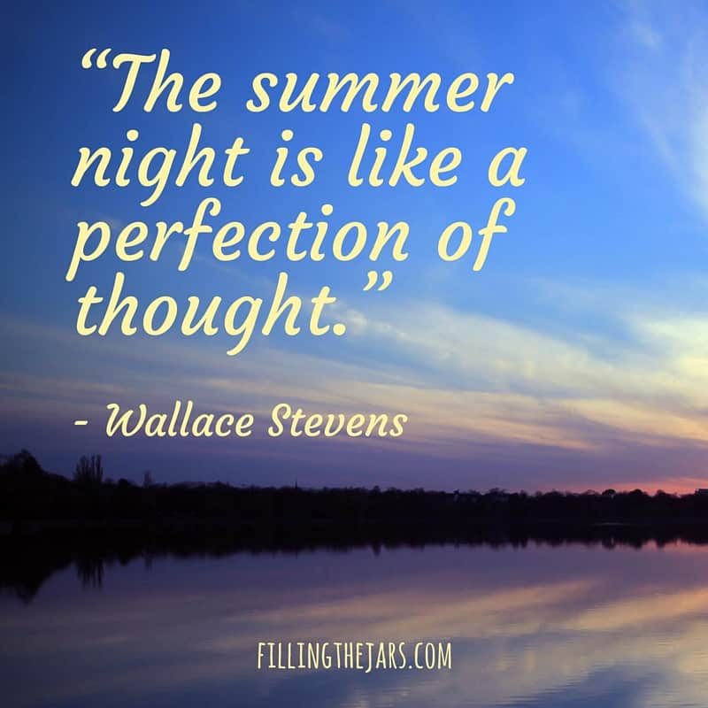 sunset over lake with text overlay wallace stevens quote the summer night is like a perfection of thought