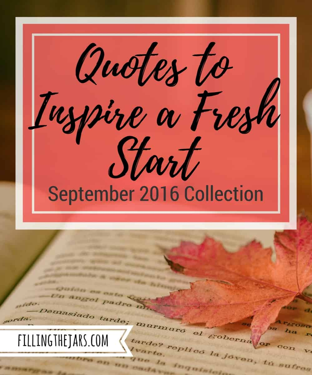 Quotes to Inspire a Fresh Start for Autumn black text on salmon background over image of open book and red maple leaf