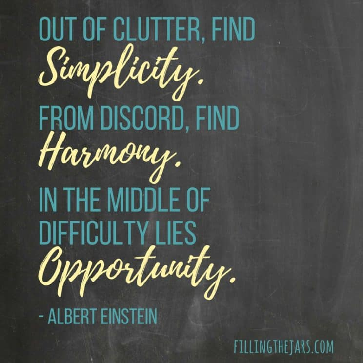 """""""Out of clutter, find Simplicity. From discord, find Harmony. In the middle of difficulty lies Opportunity."""" – Albert Einstein 