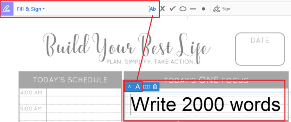 Keep your life on track with a free printable daily planner page - daily schedule, ONE focus, motivational thought, food + water tracker, notes + tasks. | How to fill planner page with text and highlight text in Adobe Acrobat Reader. | www.fillingthejars.com