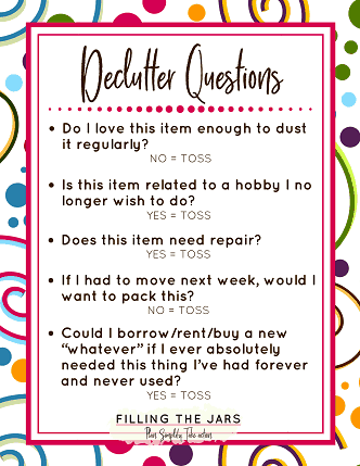 5 questions to ask yourself when decluttering with pink border and colorful circles and squiggles border
