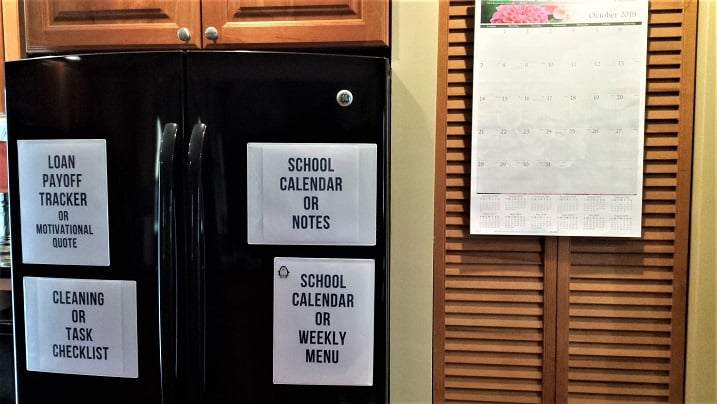 layout for refrigerator command center and calendar