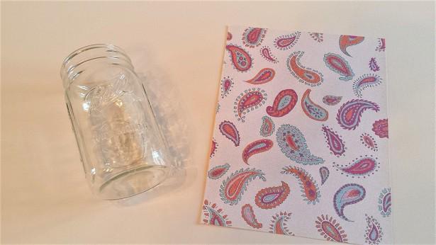 journal jar prompts printed scrapbook paper and mason jar