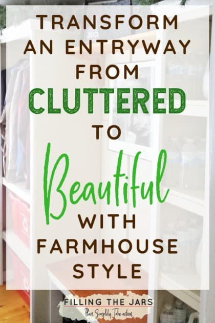Wow! What a difference! Some DIY and a few organizing touches really transformed this mudroom. The farmhouse style makes it look so cozy, and I love the practical touches that really make it functional. So pretty! Click through to see how she did it for hardly any money... #DIY #organizing #farmhousedecor