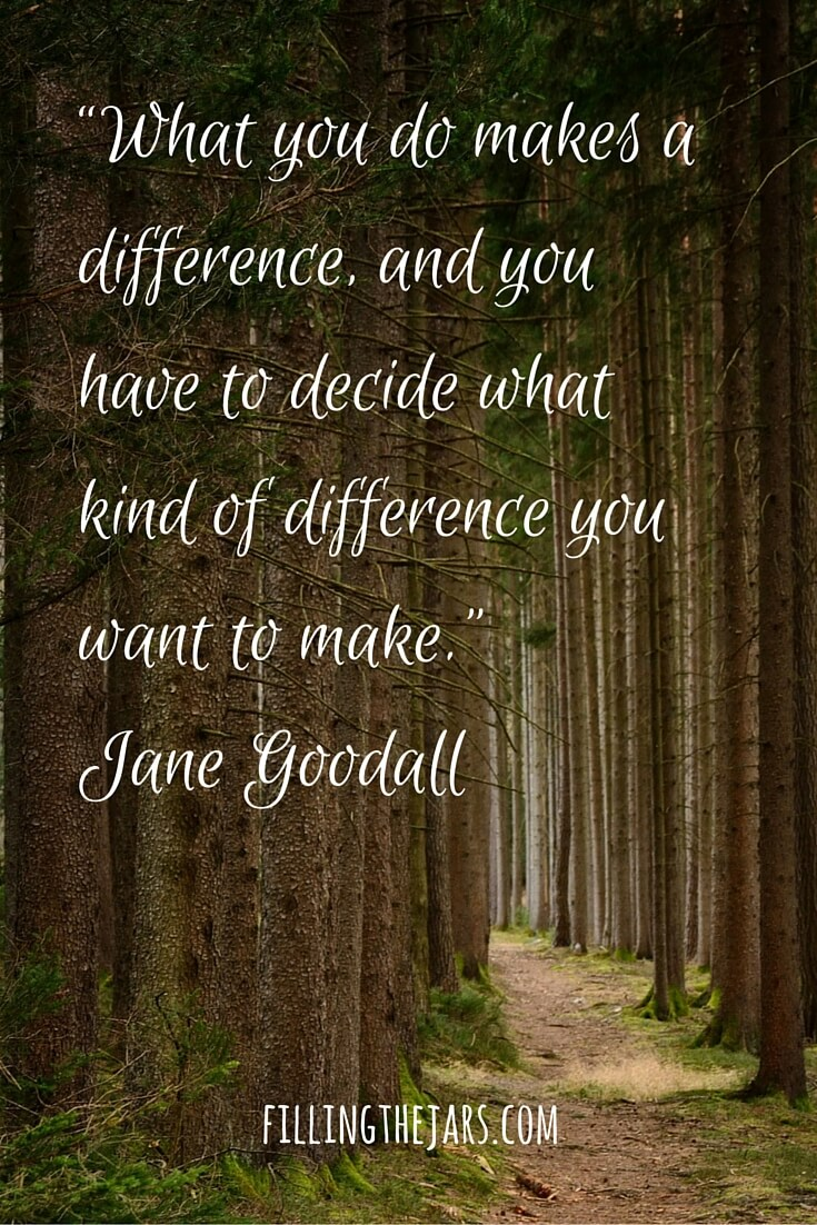 jane goodall motivational quote white text on forest photo background