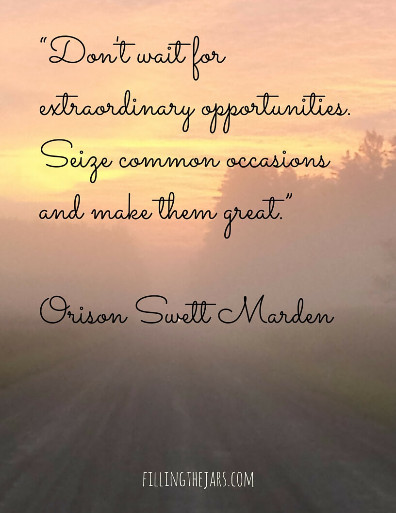 Orison Swett Marden intentional living quote black script text on sunrise over gravel road background