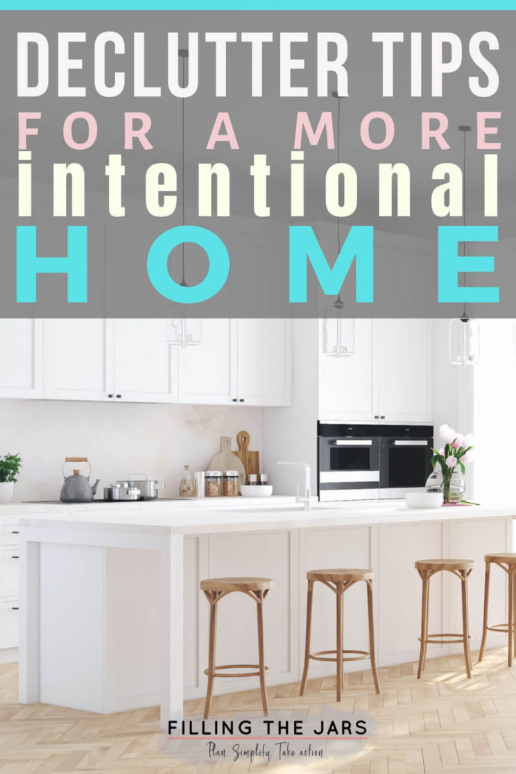 declutter tips text over image of simple white kitchen with wood barstools and wood floor