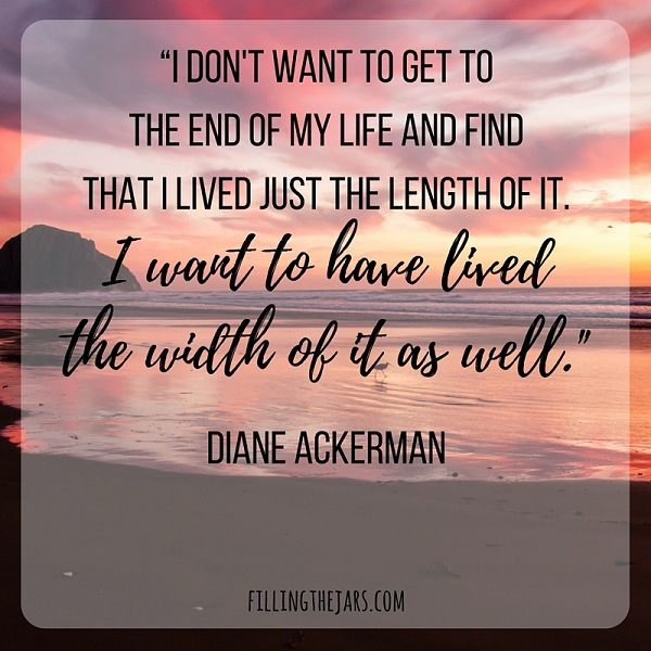 diane ackerman motivational quote text on image of sunset and clouds over ocean