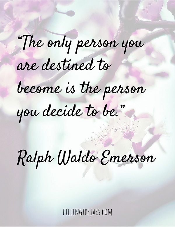 Ralph Waldo Emerson motivational quote text on faded image of blossoming tree white and purple flowers