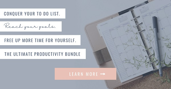 ultimate productivity bundle text over open planner and pen with learn more highlighted text