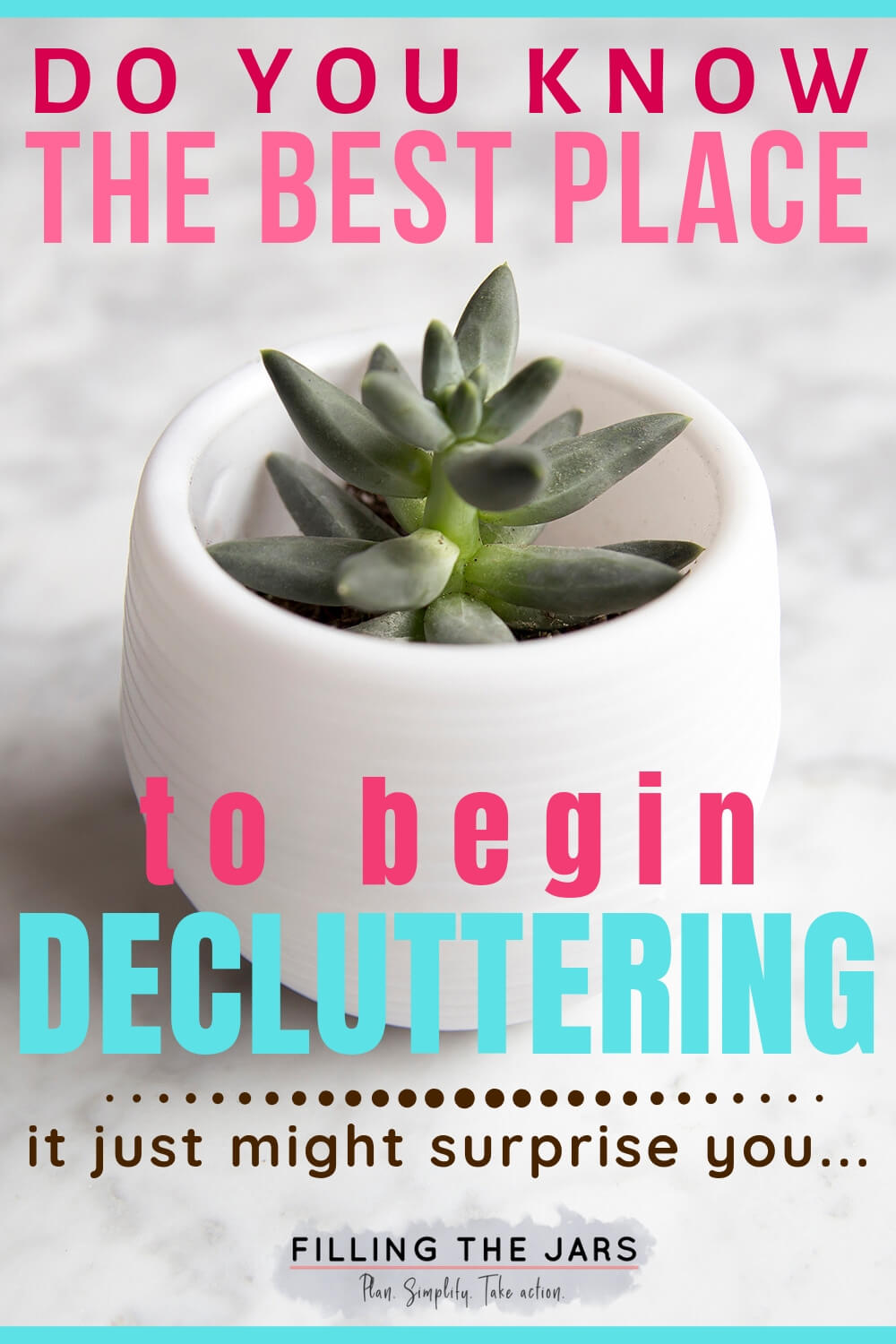 tiny succulent in white pot with pink and teal text overlay best place to begin decluttering