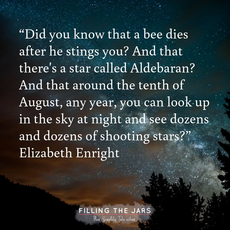 night sky with text overlay quote around the tenth of august see dozens of shooting stars elizabeth enright