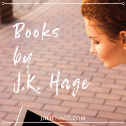 woman reading ebook on brick sidewalk with text overlay books by j.k. hage