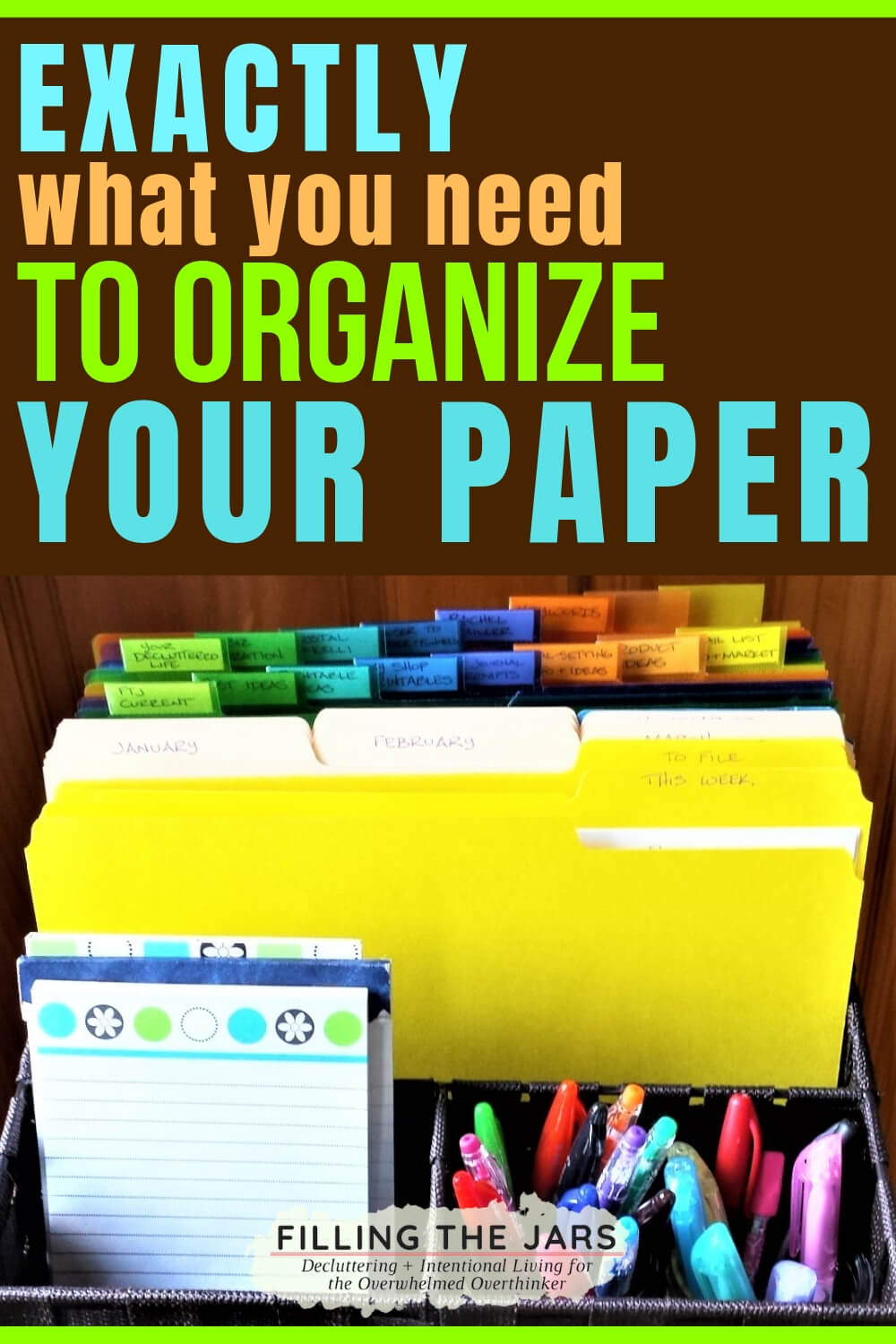 tidy files in a basket from the paper organizing tools list