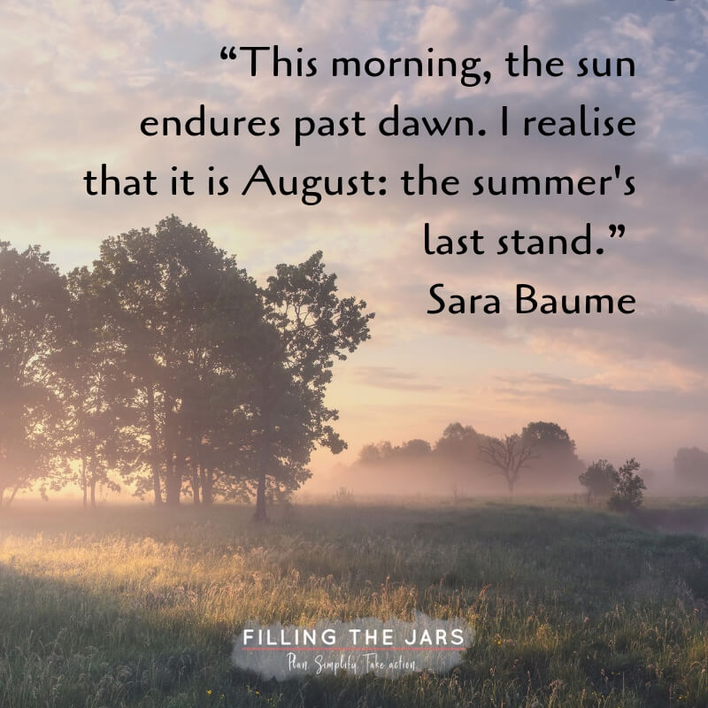 summer sunrise mist over trees and grass with text overlay quote sara baume august is summer's last stand