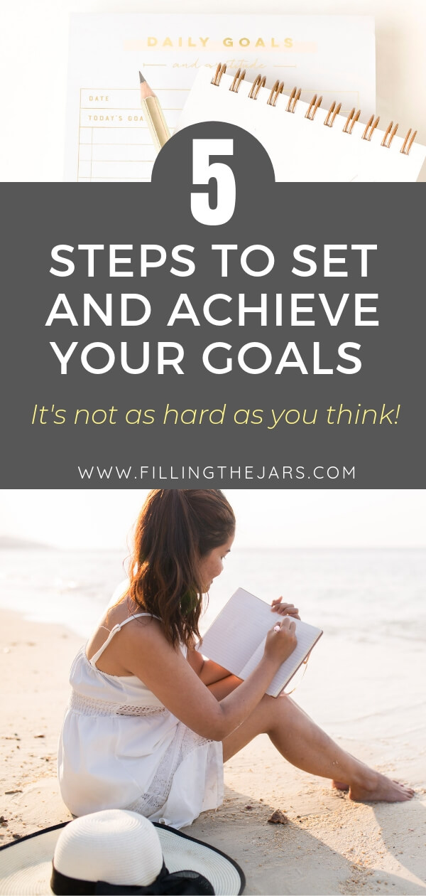 goal setting notebooks and woman in white dress on beach writing in notebook with text overlay how to set goals
