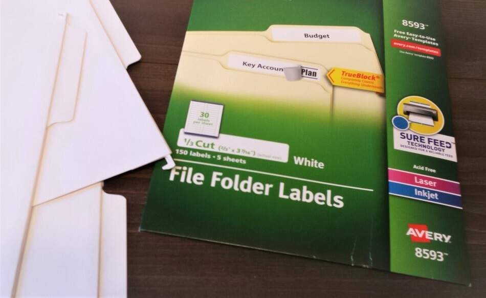 white file folders and avery 8593 file folder labels ready to use to organize school paperwork