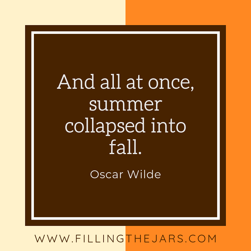 oscar wilde autumn quote on brown orange and cream background