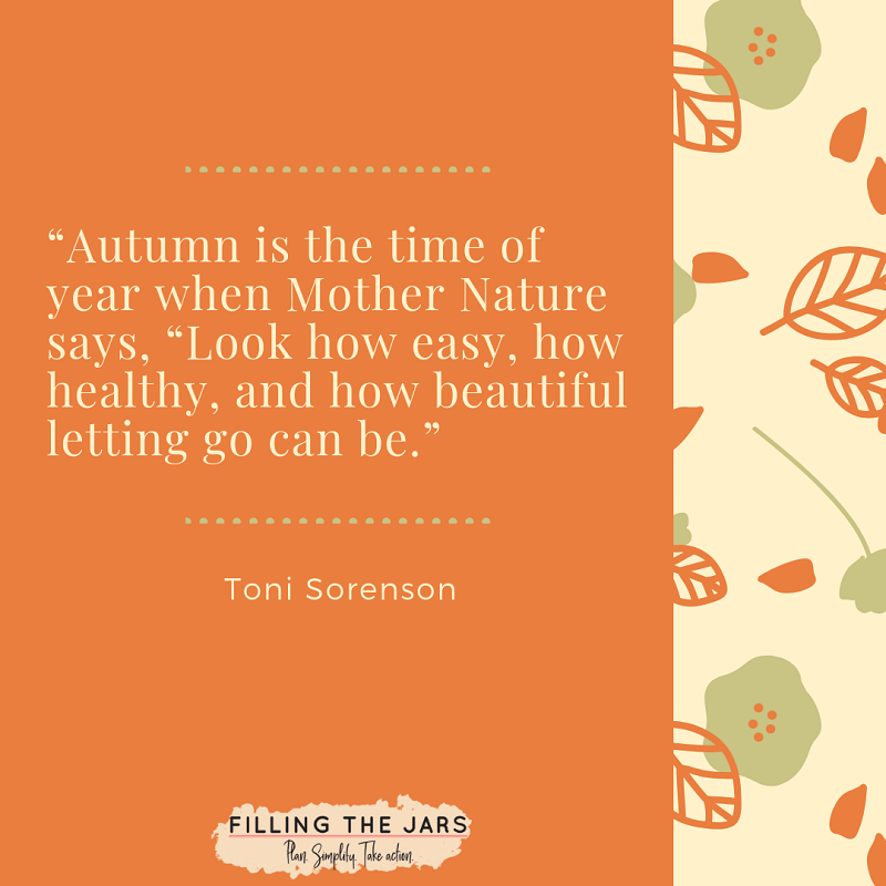 toni sorenson autumn letting go quote on solid orange and leaf pattern background