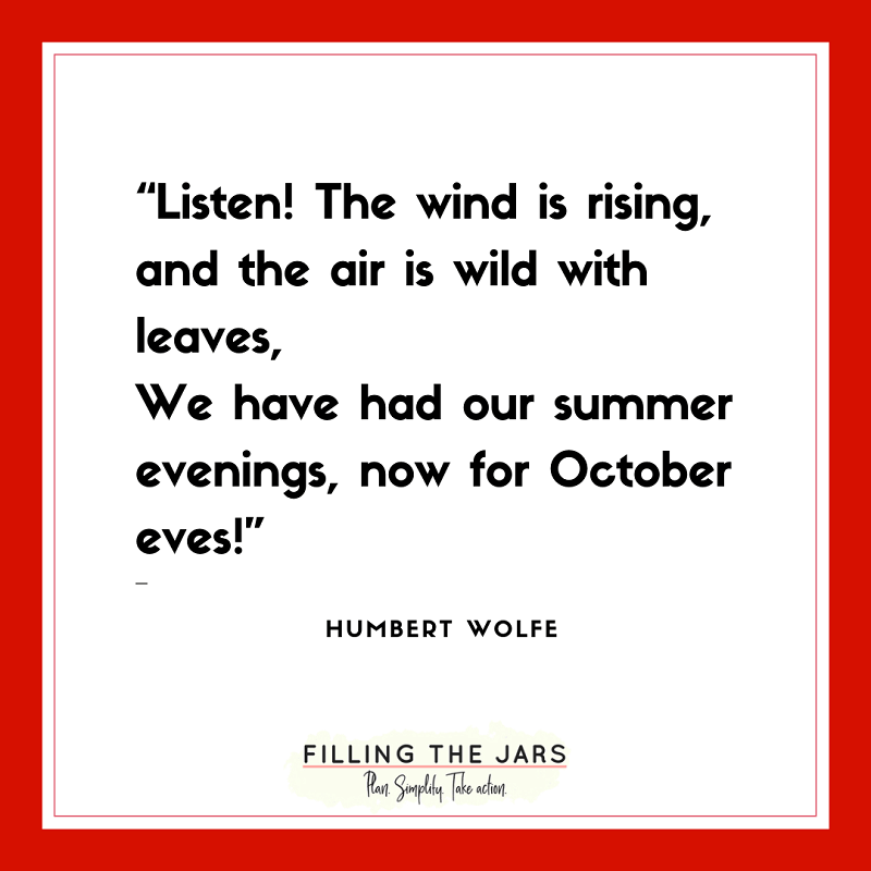 humbert wolfe fall quote on white background with red border