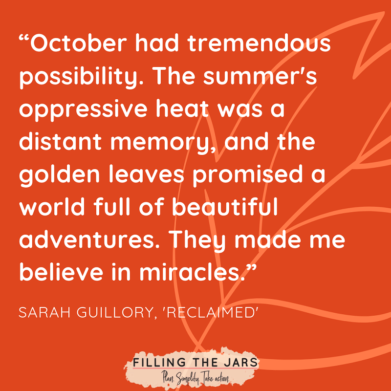 sarah guillory october possibilities quote over dark orange background with leaf line drawing