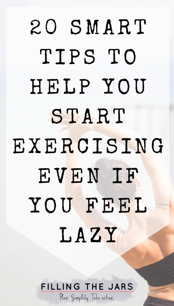 woman stretching with white overlay and text how to stop being lazy and exercise