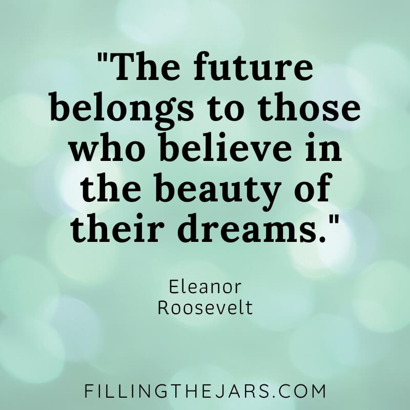 green bokeh background with Eleanor Roosevelt quote the future belongs to