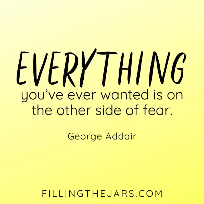 yellow background with George Addair quote the other side of fear
