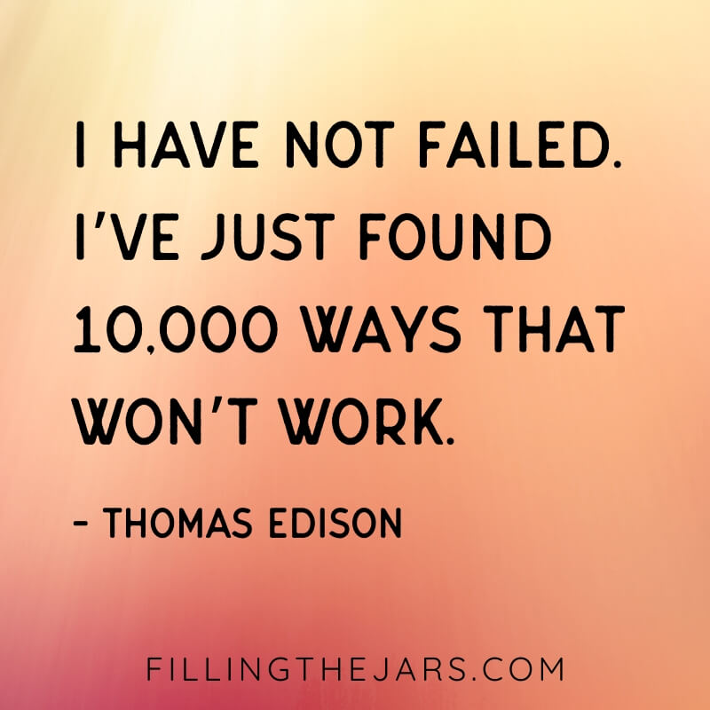 orange and pink background with Thomas Edision quote I have not failed