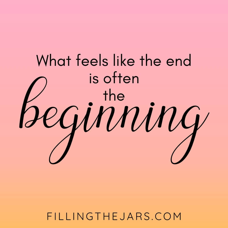 pink and orange background with text what feels like the end is often the beginning