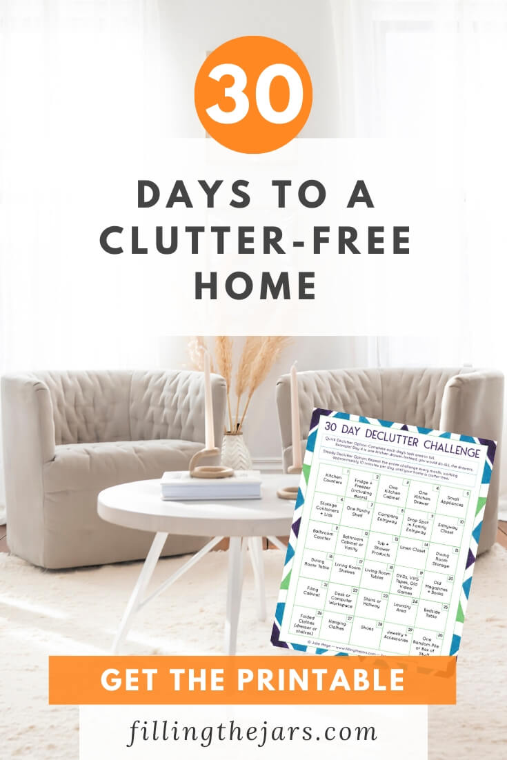 neutral decluttered room with image of 30 day declutter challenge and text overlay 30 days to a clutter-free home
