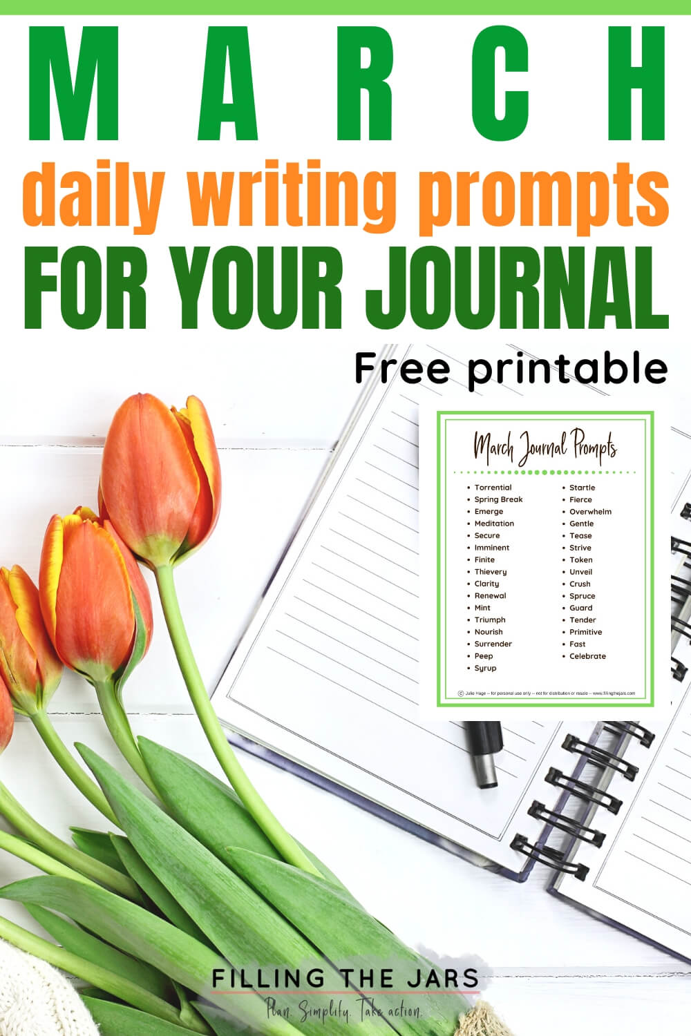 orange tulips and open journal on white background with text headline March journal prompts