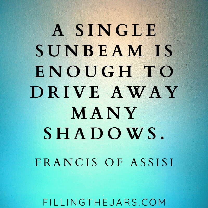 francis of assisi single sunbeam quote on blue background