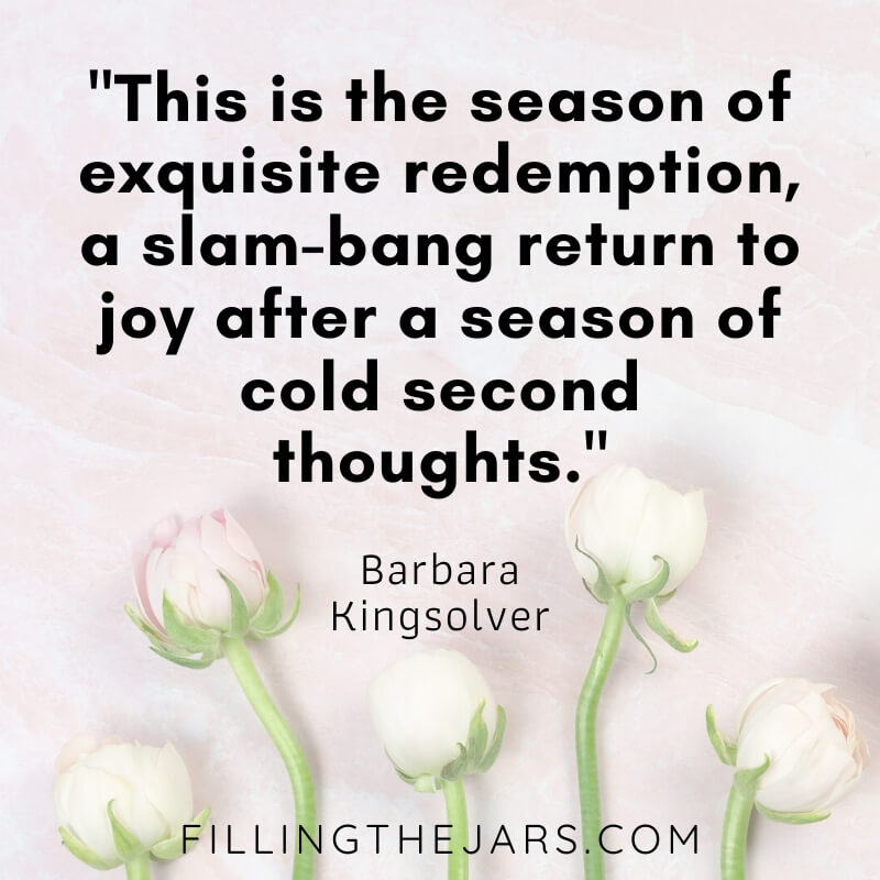 barbara kingsolver quote about spring on pale tulip background