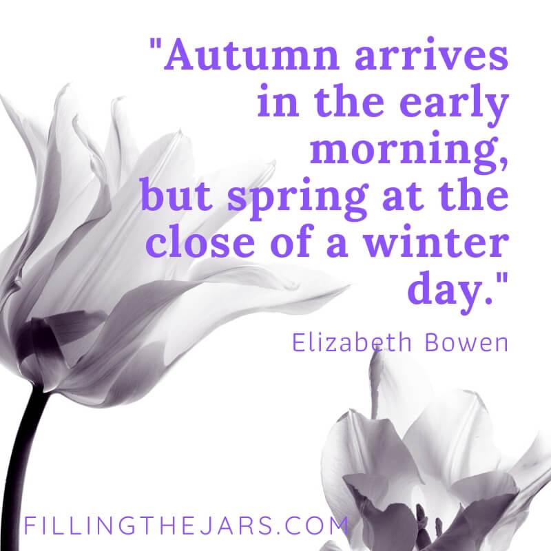 elizabeth bowen spring arrives quote on stark black and white tulip background