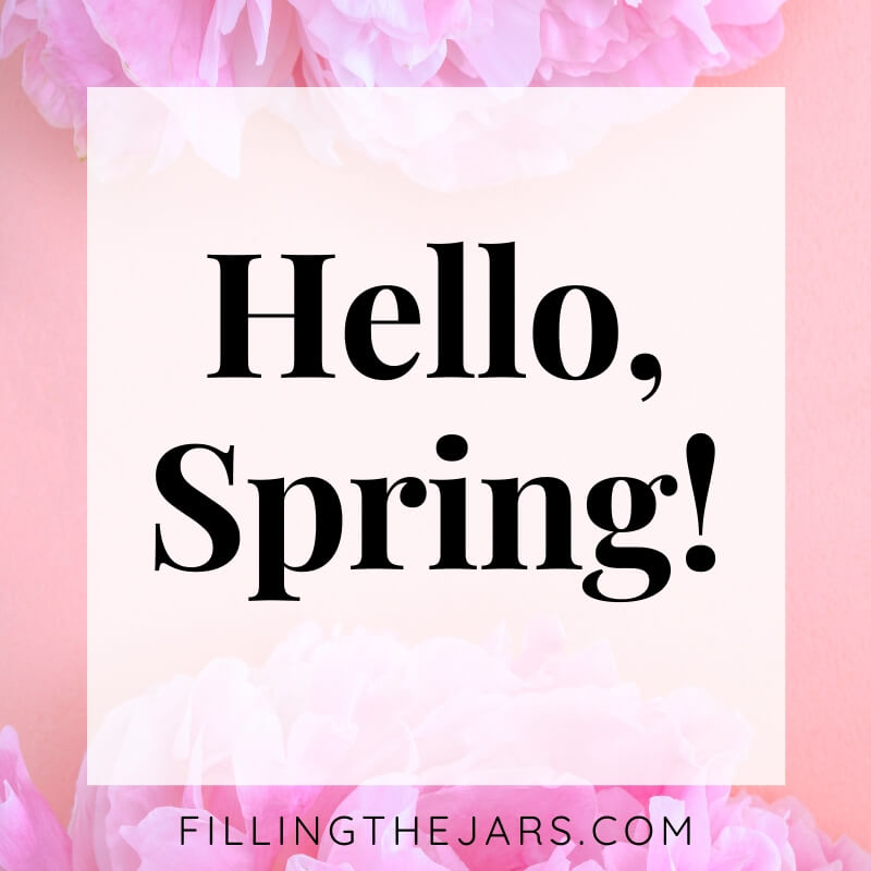 hello spring text on pink peony background with white overlay