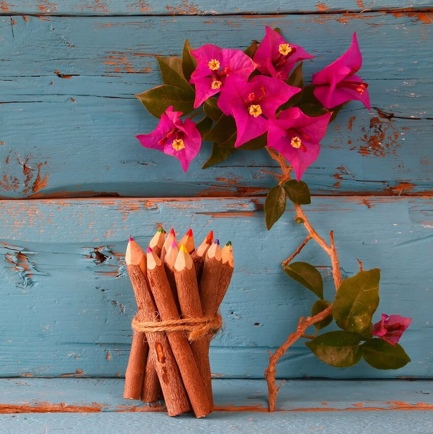rustic blue wood background with pink flowers and wood pencils ready to use for list journaling