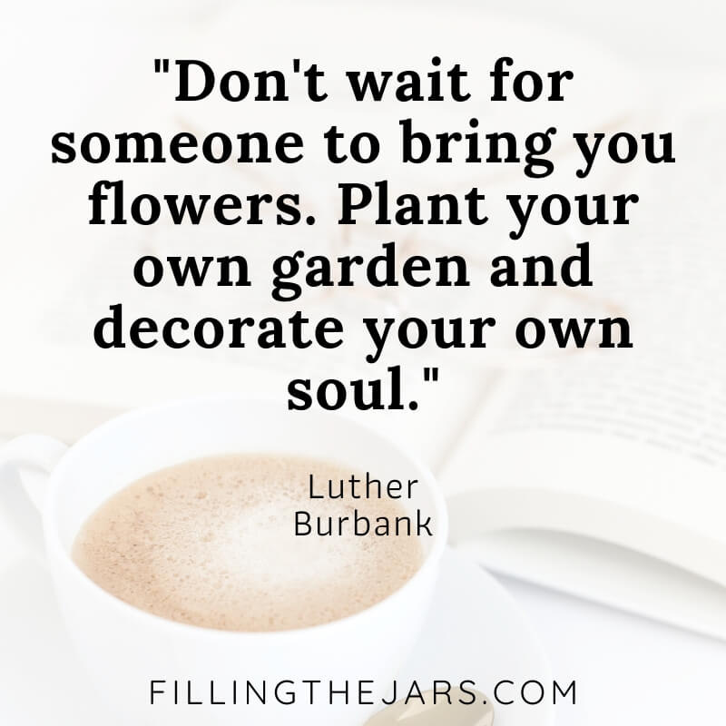 luther burbank spring motivational quote on white background with coffee and open book