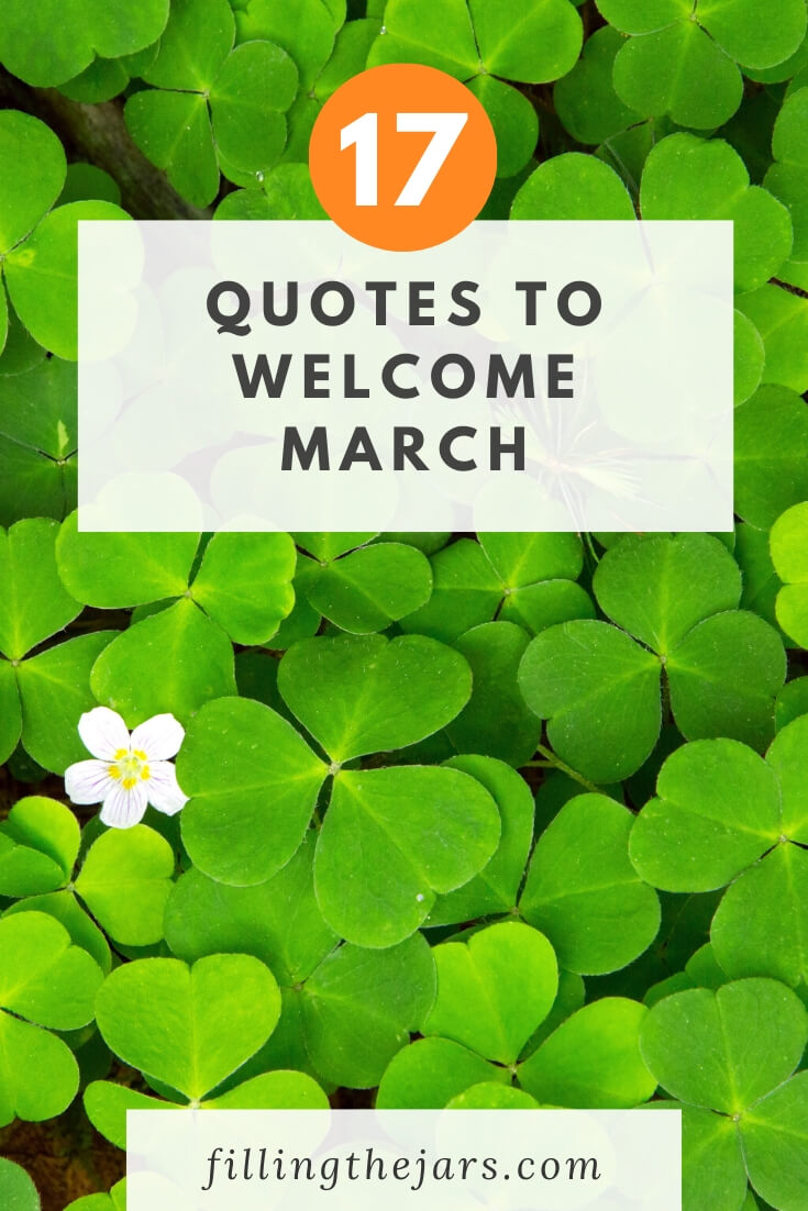 quotes to welcome march text over bright green clover leaf background