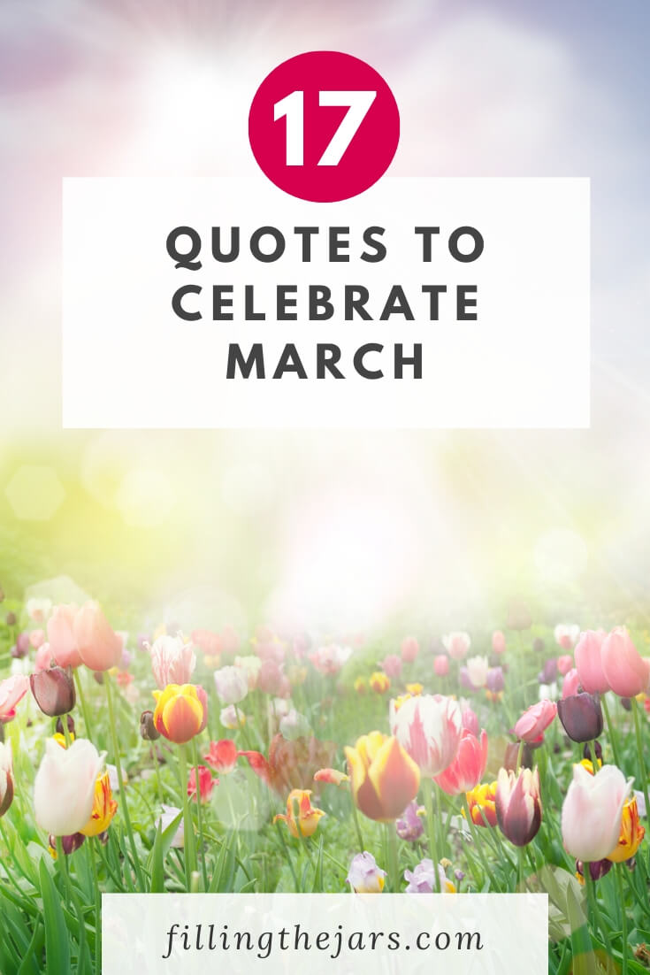 sunny multicolor tulip field with text overlay quotes to celebrate march