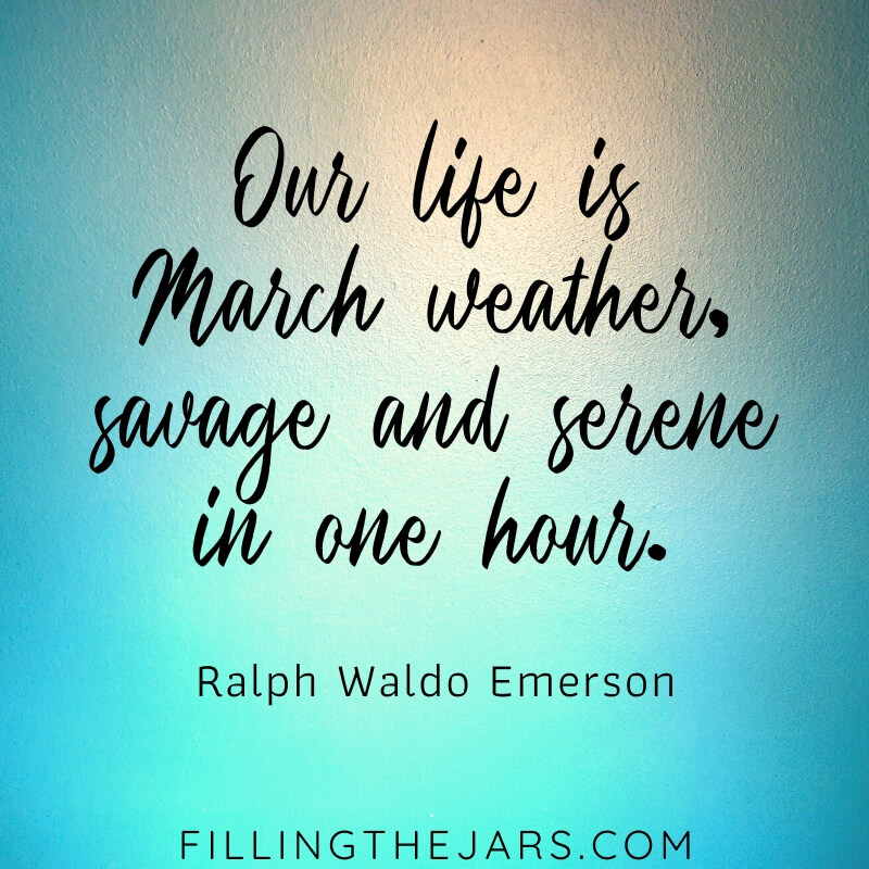 ralph waldo emerson march weather quote on blue and peach background