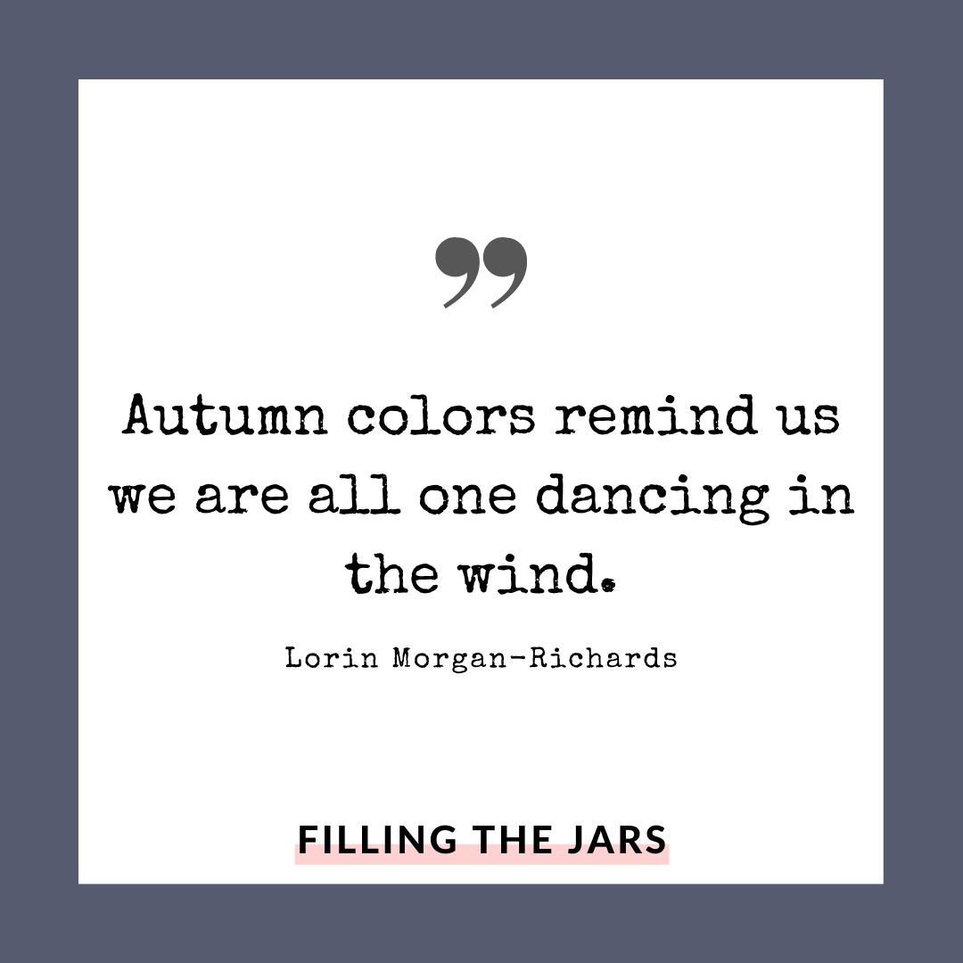 Lorin Morgan Richards autumn quote on white background over navy